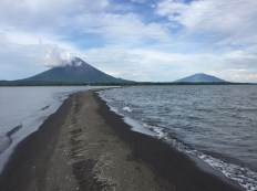 View of the two volcanoes from the end of the spit