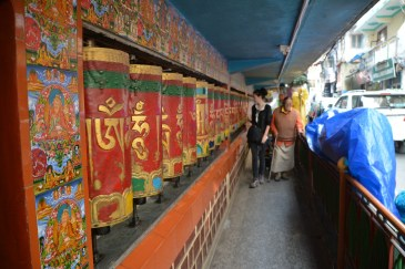 Jess turning the prayer wheels