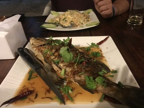 fried fish in tamarind sauce