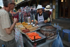 Typical stall of BBQ skewers