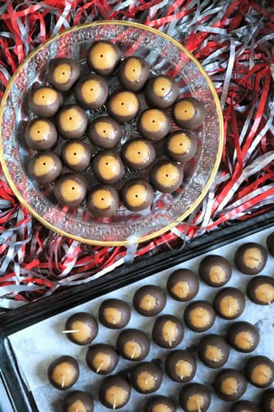 Buckeye Cake Balls dipped with toothpicks
