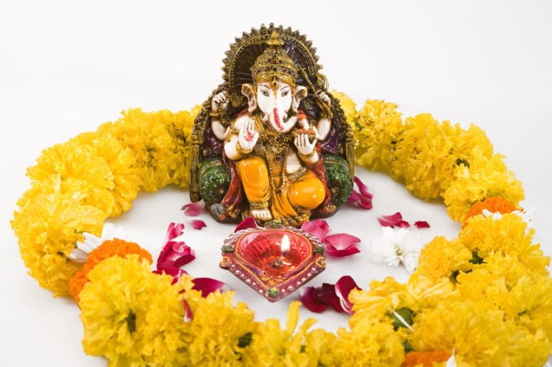 Image result for Lord Ganesh prohibited from any involvement of the Tulsi leaves.