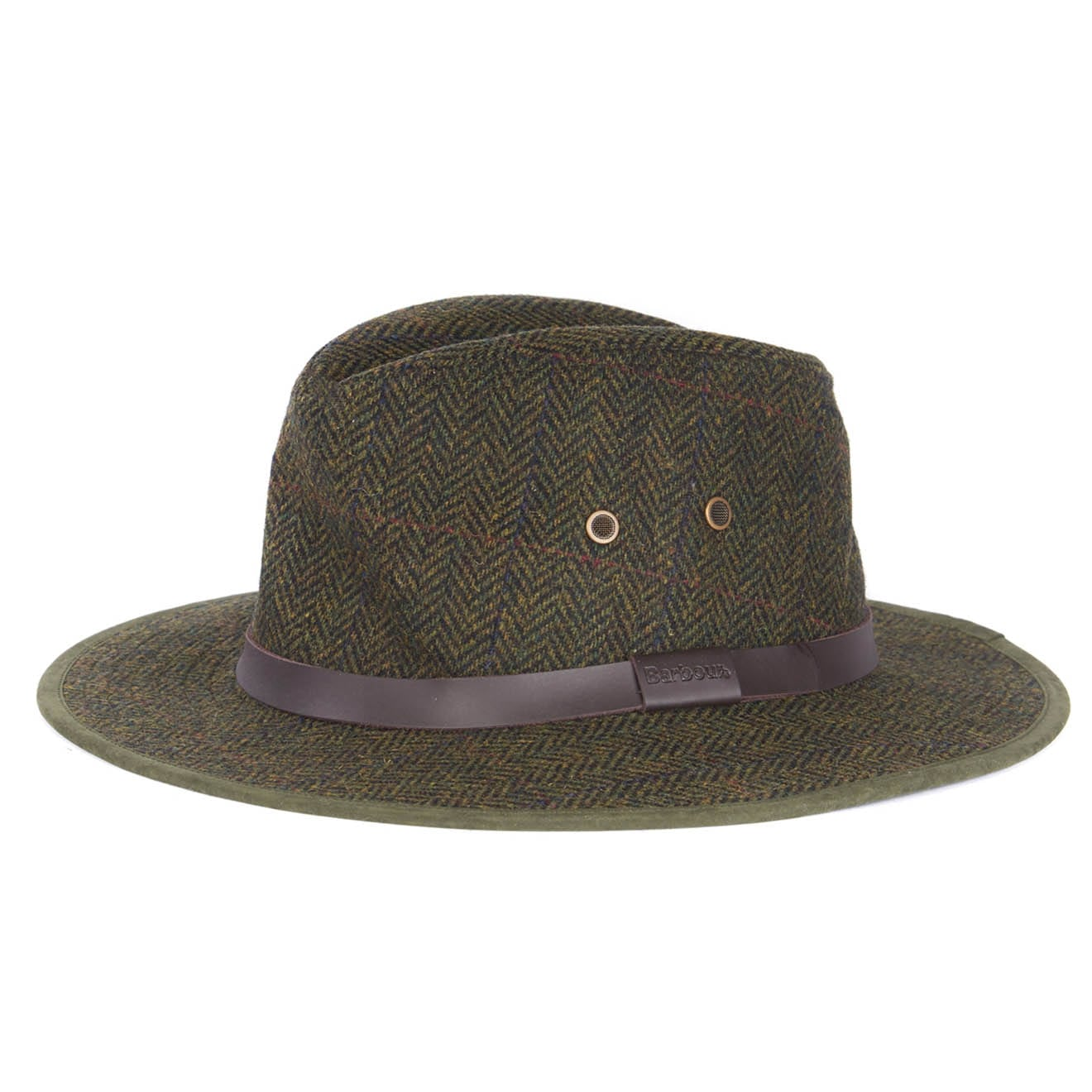 Barbour Bushman Fedora Hat Olive Country Check