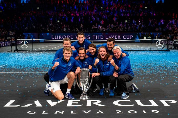 Team Europe's composed of (From down L) Captain Thomas Enqvist, Alexander Zverev, Roger Federer, Rafael Nadal, Stefanos Tsitsipas, and Captain Bjorn Borg (From up R) Fabio Fognini and Dominic Thiem celebrate after winning the 2019 Laver Cup.