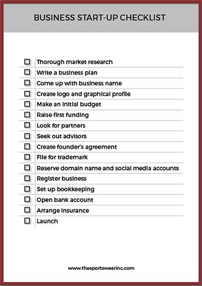 Business start-up checklist