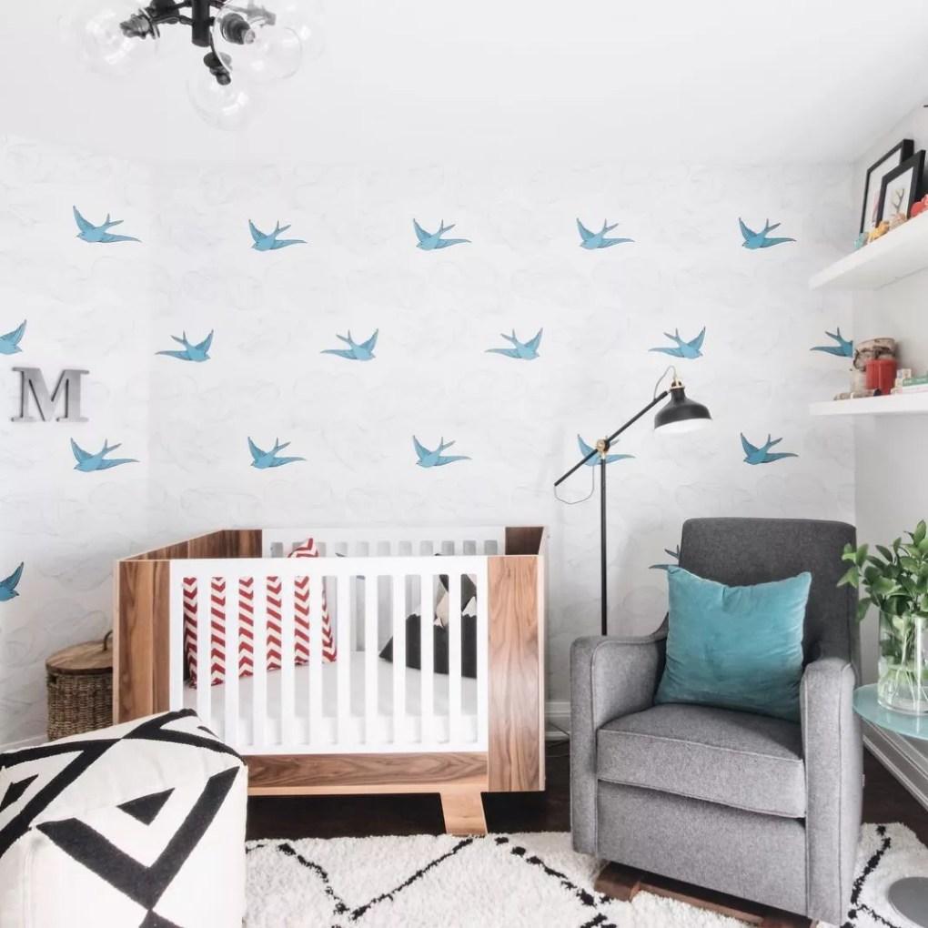 Wallpaper in a nursery.