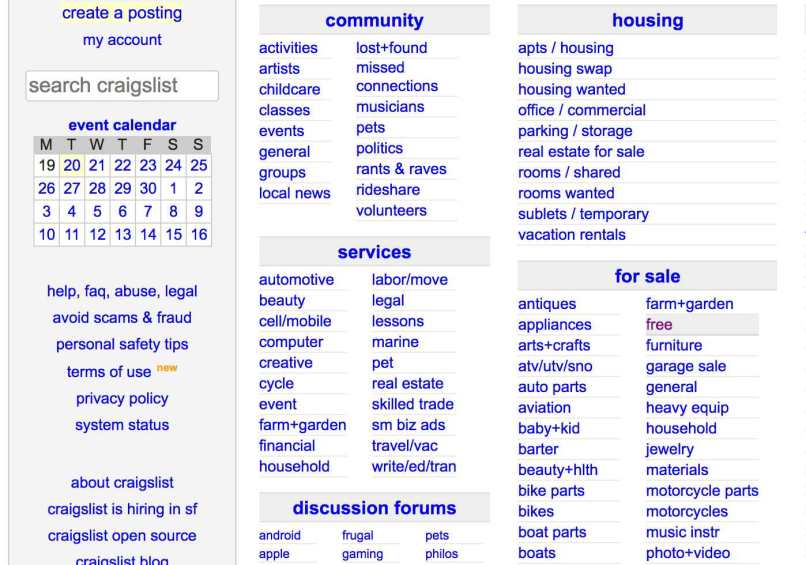 Craigslist For Categories Free