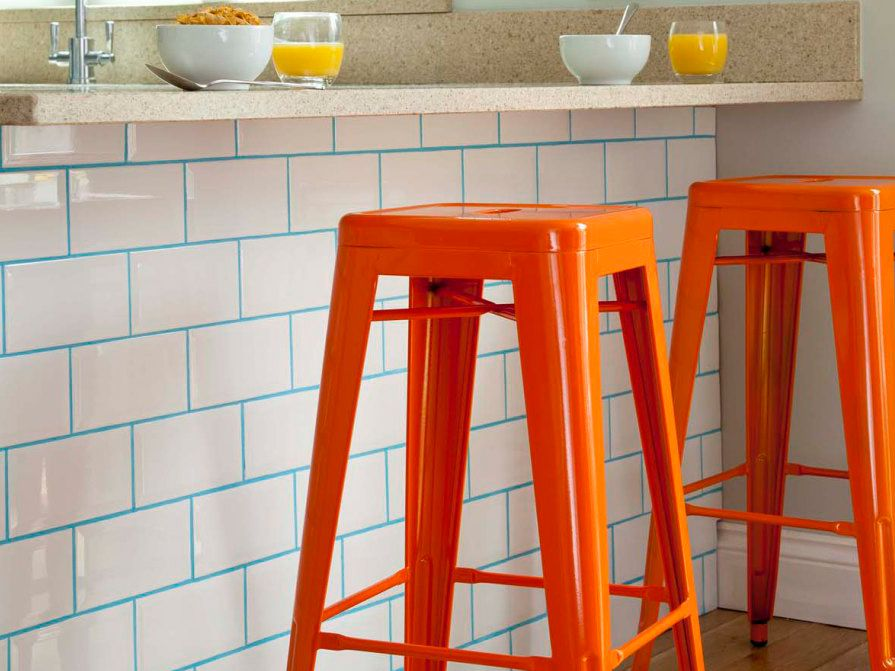 colorful grout spices up boring white tile