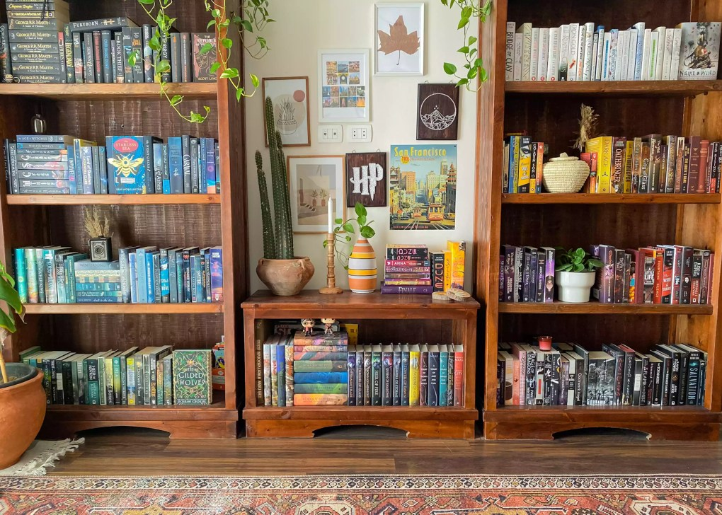 bookcase and global decor elements