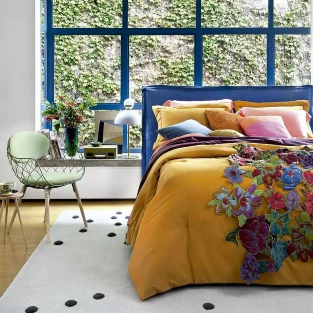 bedroom with bright colors and lots of light