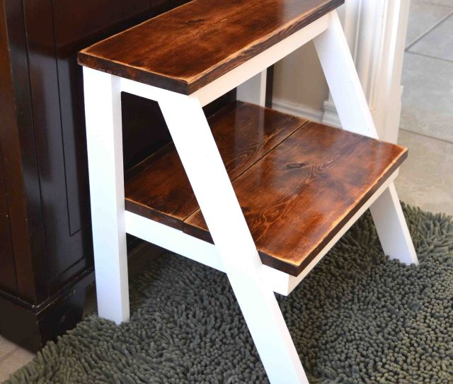 A Wooden White Step Stool