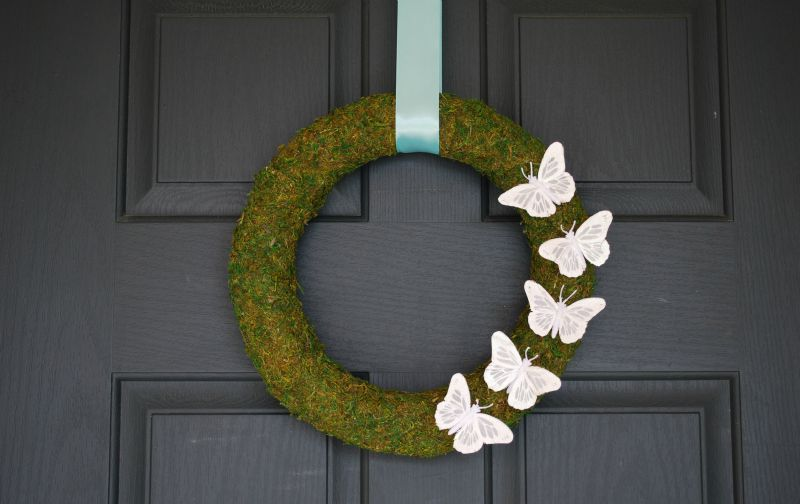 DIY Moss Covered Butterfly Wreath