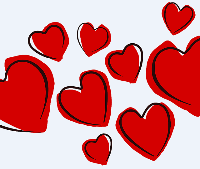 Openclipart Orgs Free Valentines Clip Art A Collection Of Red Heart Sketches