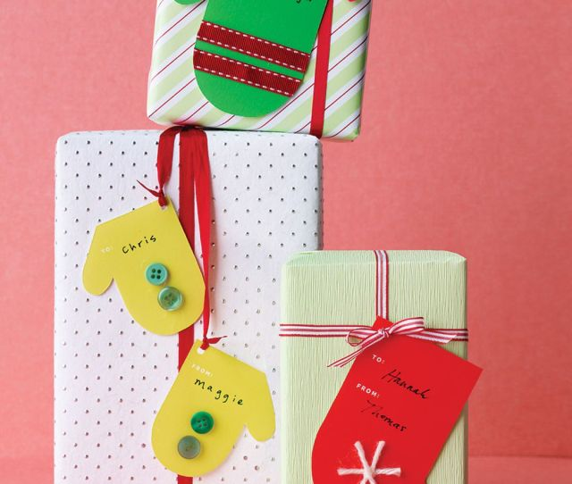 Christmas Gift Tags Shaped Like Mittens And Stockings