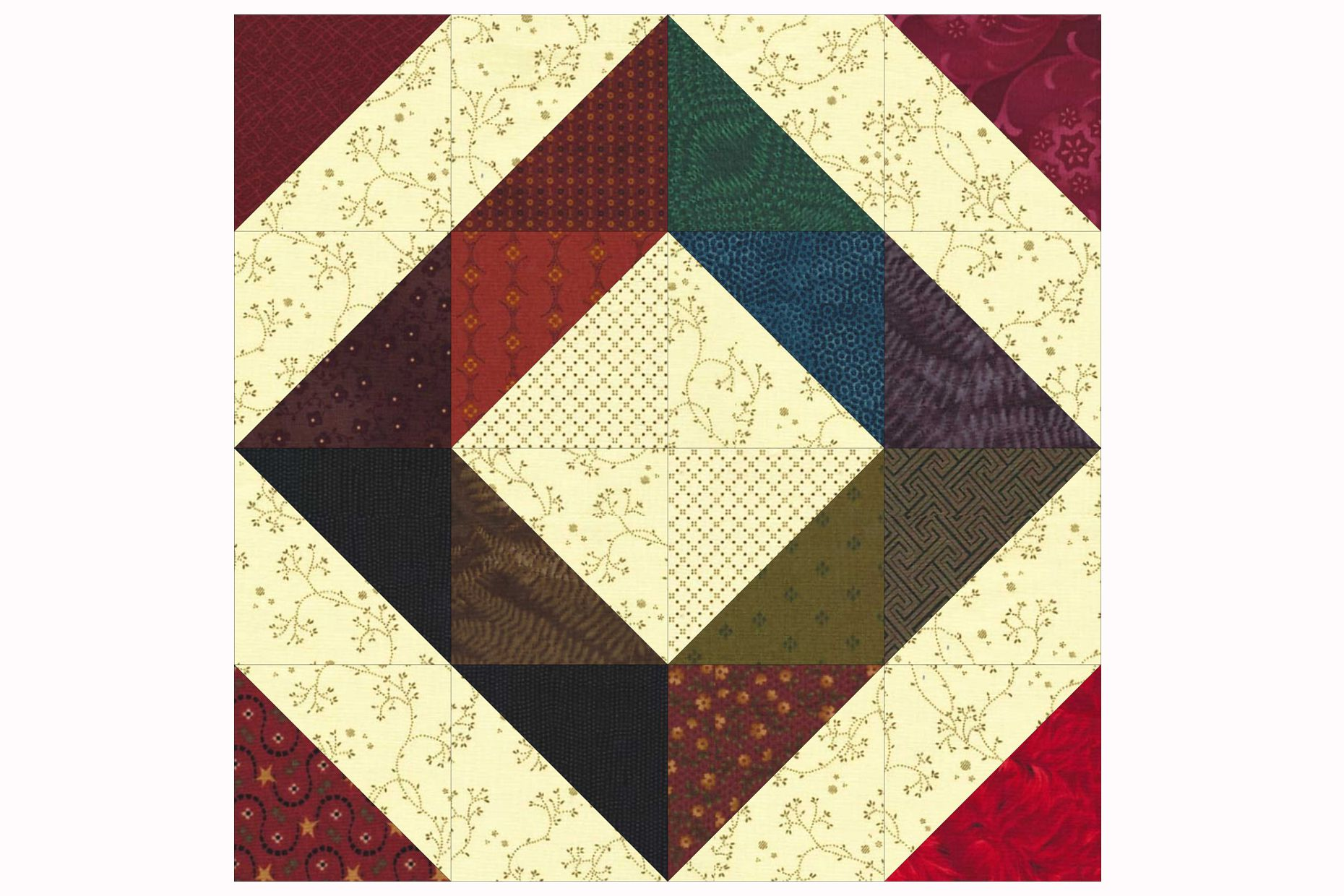 Easy Patchwork Scrap Quilt Block Pattern