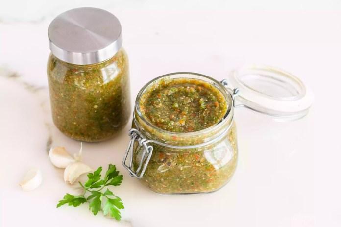Fresh sofrito in jars
