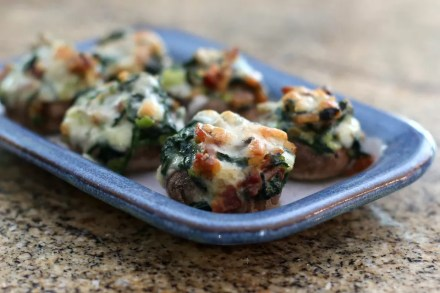 Spinach, Bacon, and Fontina Cheese Stuffed Mushrooms