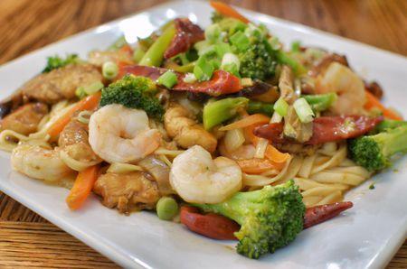 Shrimp Lo Mein And Three Vegetables Recipe