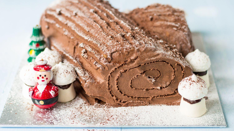 french chocolate buche de noel yule log cake