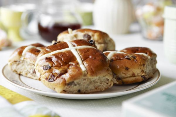 Close up of plate of scones