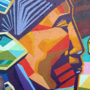 """""""This is part of the mural across from RCW on Dalhousie St. The geometric colours and shapes accentuate the piece."""""""