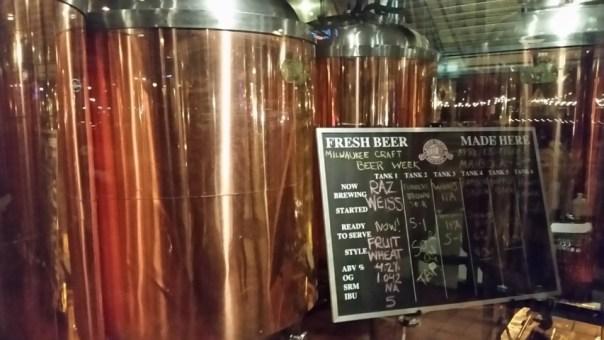 Brewing kettles.