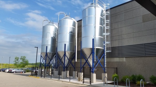 Brand-new brew tanks outside the front door.