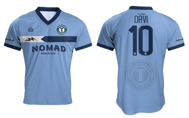 The Milwaukee Torrent soccer team's home jersey. Image taken from Admiral Sports USA.