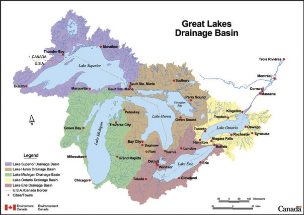 A map of the Great Lakes drainage basin.