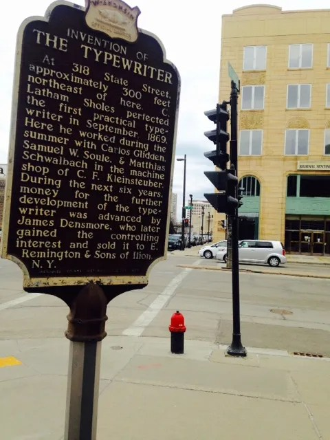 The official Wisconsin State Historical Marker marking the invention of the typewriter. Photo credit: Meggy