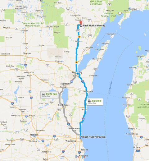 The drive from original location to current location. Screenshot from Google Maps.