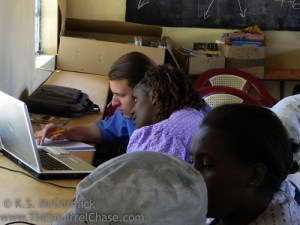Teaching computer skills.
