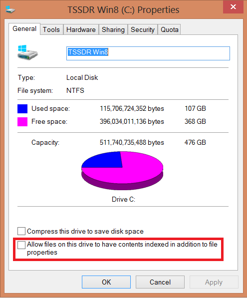 Windows 8 SSD Optimization IndexingIndexing