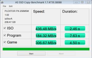 Plextor M5M 256GB mSATA SSD AS SSD Copy Bench