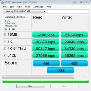 CPU Optimized Samsung 840 EVO 1TB SSD AS SSD IOPS