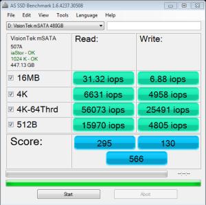Visiontek 480GB mSATA SSD AS SSD IOPS