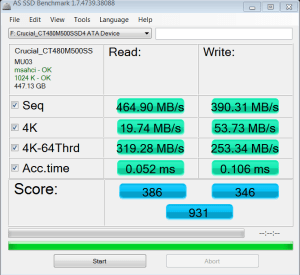 Crucial M500 M.2 NGFF SSD AS SSD Bench