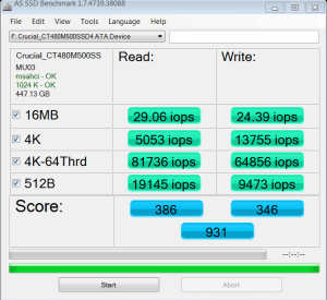 Crucial M500 M.2 NGFF SSD AS SSD IOPS
