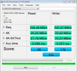 MyDigitalSSD OTG SuperSpeed USB 3.0 Mobile SSD AS SSD