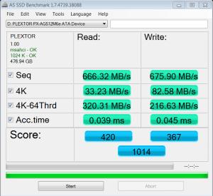 Plextor M6e PCIe M.2 512GB SSD AS SSD