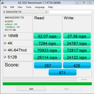 Mushkin Reactor 1TB AS SSD IOPS