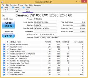 Samsung 850 EVO 120GB Crystal Disk Info