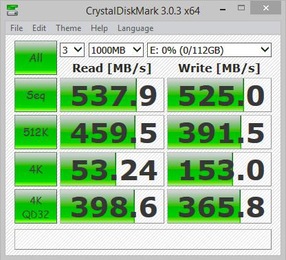 Samsung 850 EVO 120GB Crystal Disk Mark