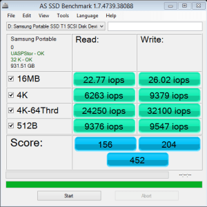 Samsung Portable SSD T1 AS SSD IOPS NTFS