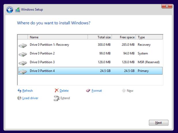 Windows 8.1 UEFI GPT Partitions