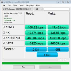 RAIDSamsung SSD 950 Pro m2 512GB AS SSD IOPS