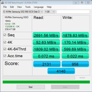 RAIDSamsung SSD 950 Pro m2 512GB AS SSD