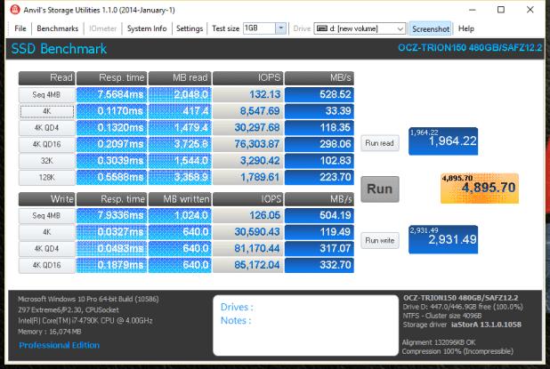 OCZ Trion 150 480GB SSD ANVIL