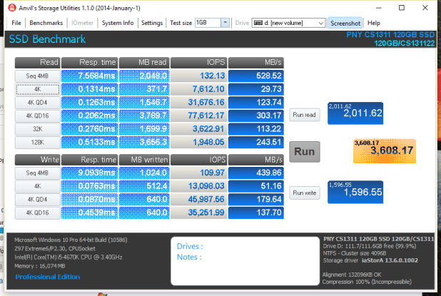 PNY CS1311 SSD 120GB Anvil