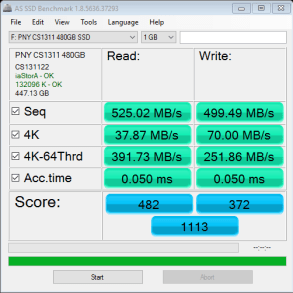 PNY CS1311 SSD 480GB AS SSD